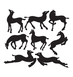 Collection of silhouettes of deer in different vector