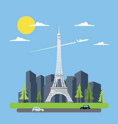 Flat design of Eiffel tower vector image