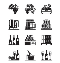 Grapes and wine icon set vector