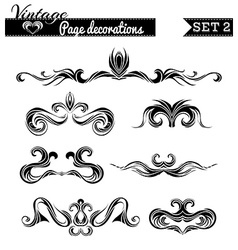 Set 2 vintage page decorations vector