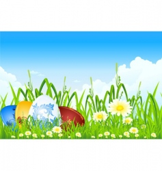 Easter eggs in the grass vector