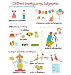 Childrens birthday infografics vector