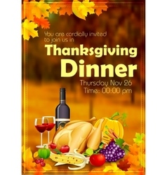 Happy Thanksgiving dinner celebration vector image