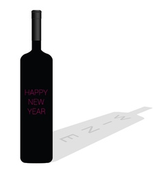 Happy new year wine glass vector