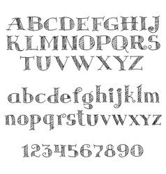Alphabet letters font with cross-hatching vector