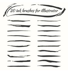 Ink brushes set grunge brush strokes vector