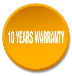 10 years warranty orange round flat isolated push vector