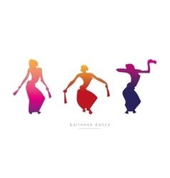 Silhouette girls dancing Balinese dance vector image