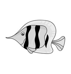 Angel fish icon in monochrome style isolated on vector
