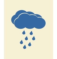 Blue cloud with falling rain vector