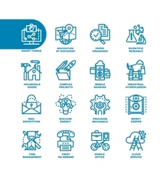 Business fat line icon set vector
