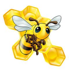 cartoon bee with honeycomb vector image