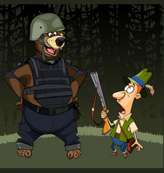 cartoon hunter with a gun was afraid of a bear vector image