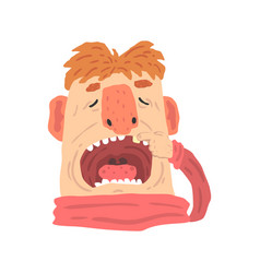 Cartoon man with open mouth on a dentist visit vector