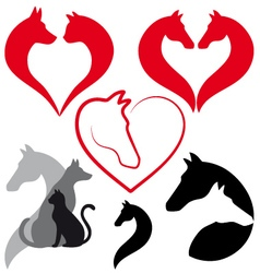 Cat dog horse heart set vector