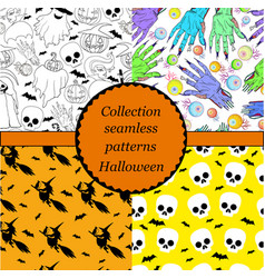 collection of seamless patterns for halloween vector image