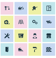 construction icons set collection of measure tool vector image vector image
