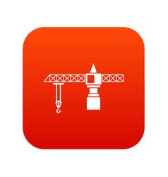 Crane icon digital red vector