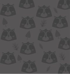 cute raccoon head pattern background image vector image vector image