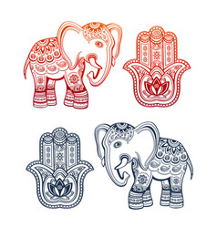 ethnic elephant and hamsa hand ethnic ornaments vector image vector image