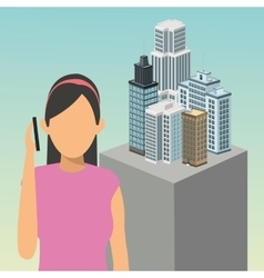 Girl avatar smartphone smart city icon vector