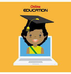Girl with computer vector