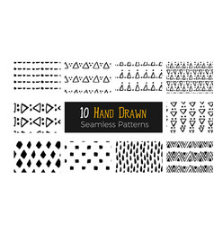 hand drawn ink seamless pattern vector image