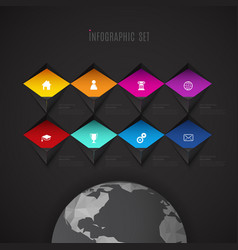 Infographic template with set of colorful icons vector