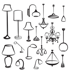 Lamp furniture doodles set ceiling light design vector