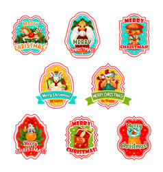 merry christmas holiday icons vector image