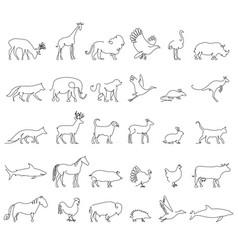 One line animals set logos stock vector
