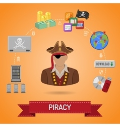Piracy concept with pirate vector