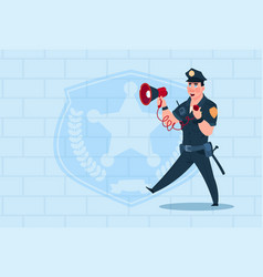 Policeman hold megaphone wearing uniform cop guard vector