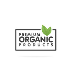premium organic products banner text and frame vector image vector image