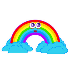 rainbow smiles in the clouds vector image vector image