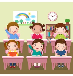 School kids studying in classroom vector image
