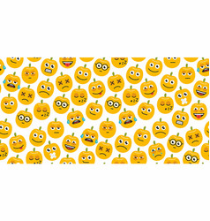 seamless background of pumpkins emoticons vector image