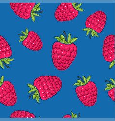 Seamless pattern raspberries on blue background vector