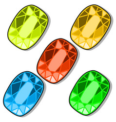 Set of five colorful chips for three in row games vector
