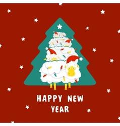 Sheep and christmas tree vector