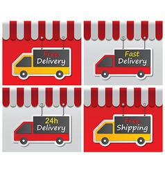 Shopfront delivery sign vector