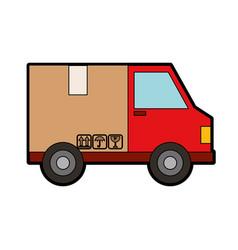 Van with box delivery service icon vector