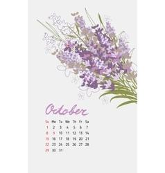 Vintage floral calendar 2017 vector
