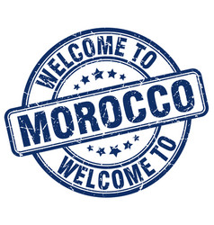 Welcome to morocco blue round vintage stamp vector