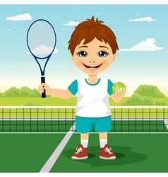 Young boy with racket and ball vector image vector image