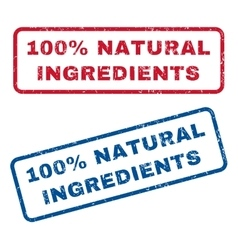 100 percent natural ingredients rubber stamps vector