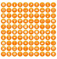 100 training icons set orange vector