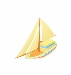 Small sailboat icon cartoon style vector