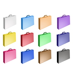 Colorful Set of Leather Suitcase Icon vector image
