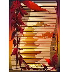 bamboo jalousie with pagoda vector image